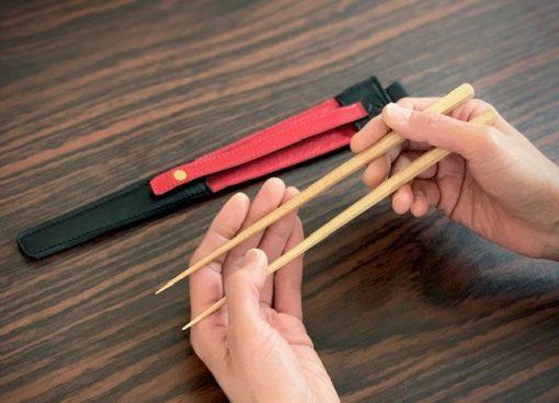 エゾ鹿革の箸ケース/黒紅