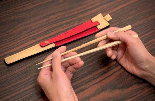 エゾ鹿革の箸ケース/ベージュベージュ紅