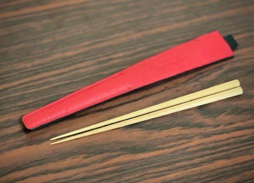 エゾ鹿革の箸ケース/黒紅裏