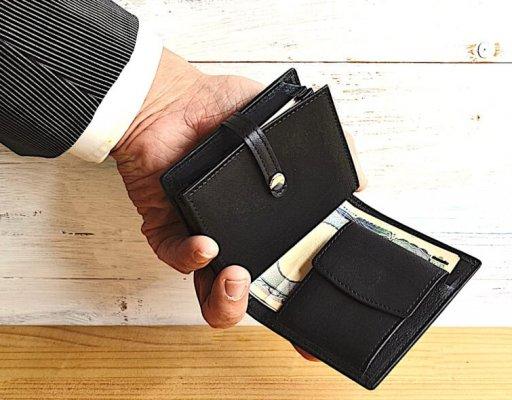 お札を挟む構造レザレクション鹿革二つ折り財布