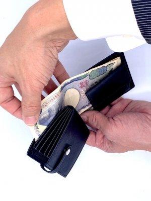 お札を挟む構造-レザレクション鹿革二つ折り財布