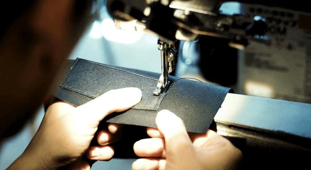 鹿革の縫製